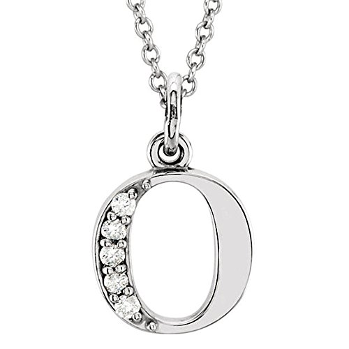 Dazzlingrock Collection 0.05 Carat (ctw) 14K Diamond Lowercase Letter 'o' Initial Pendant, White Gold ()
