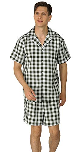 - YIMANIE Men's Pajama Set Soft Cotton Short Sleeves and Shorts Classic Plaid Sleepwear Lounge Set Green
