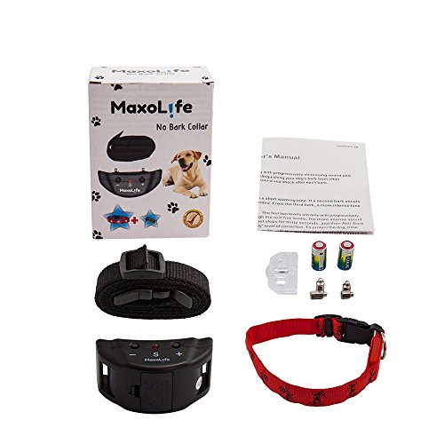 No Bark Collar By Maxolife Humane For Big-Small Dogs 18-120 No Harm & Extremely Effective - With 7 Sensitivity Levels - Train Your Dog To Control Its Barking - Extra Free Bonus - Led Dog Collar