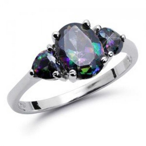 Sterling Silver SIMULATED OVAL Rainbow Topaz Mystic HEART Shape Stones Engagement (Topaz Platinum Bands)