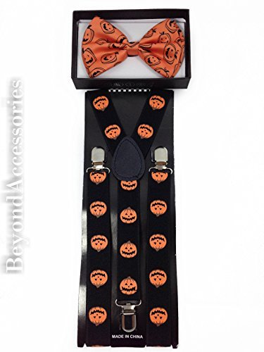 New Suspender Bow Tie Matching Colors Adults Unisex Formal - Halloween Orange (Pumpkin Bow)