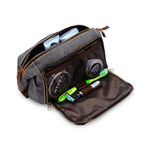 DOPP Kit Toiletry Travel Bag for Men and Women YKK Zipper Canvas Leather. Medium, Grey