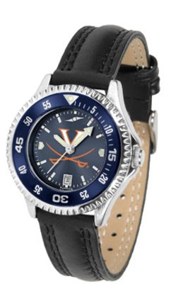 SunTime Virginia Cavaliers Competitor Ladies AnoChrome Watch with Leather Band and Colored Bezel