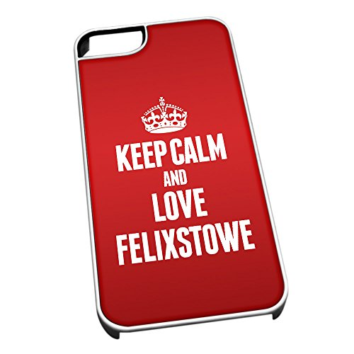 Bianco cover per iPhone 5/5S 0256 Red Keep Calm and Love Felixstowe