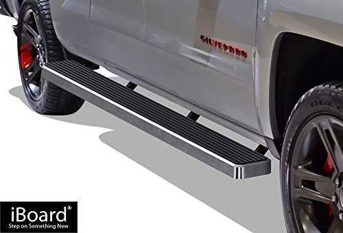 "APS Wheel to Wheel iBoard 6"" Custom Fit 2007-2018 Chevy Silverado GMC Sierra Double Cab/Extended Cab 8ft Bed & 2019 2500 HD / 3500 HD (Nerf Bars 