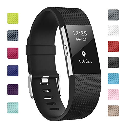 """Soulen Bands Compatible with Fitbit Charge 2, Classic & Special Edition Replacement Band Fitbit Charge 2, Large Small, for Women Men (A# 1pack Black, Small (5.7""""-7.8""""))"""