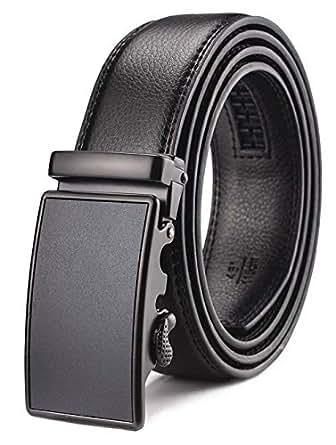 """Men's Belt,Wetoper Slide Ratchet Belt for Men with Genuine Leather 1 3/8,Trim to Fit (Up to 44"""" waist adjustable, BLACK 5)"""
