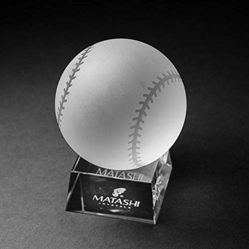 Matashi Crystal Baseball Etched Paperweight with Stand Ornament for awards, trophy, Desk Accessories Showpiece. Perfect Choice for Home Decor Gifts, Corporate office Gift with Gift Box