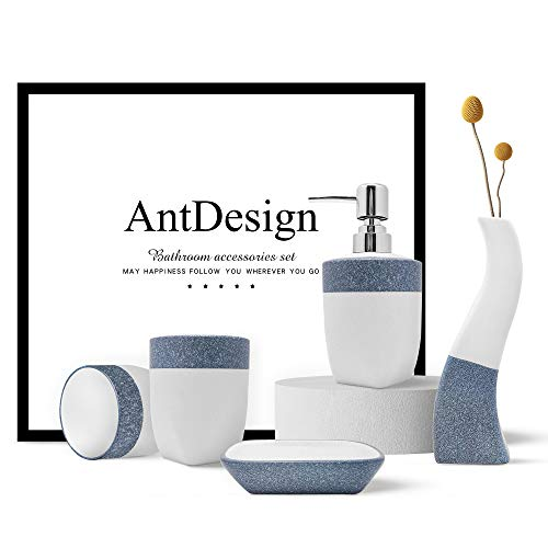 AntDesign Blue Bathroom Accessories Set,Bath Essentials Including Hand Pump Soap Dispenser, Soap Dish,Vase, and Toothbrush Holders for Bathroom,5 PCS for Bathroom Décor