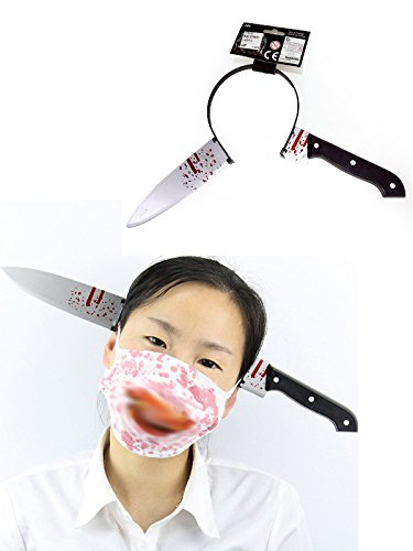 Chinese Food Costume With Cat (Zando Halloween Scars Fake Ghost Vampire Fancy Dress Party Cosplay Accessories Knife One Size)