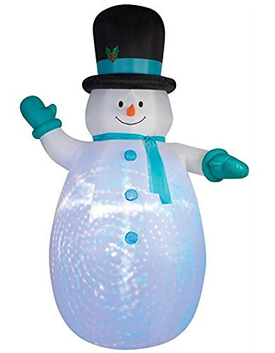 Gemmy Projection Swirls Airblown Inflatable Snowman Wearing Top Hat, Blue Mittens And Scarf - Indoor Outdoor Holiday Yard Decoration, 12-foot Tall x 7.5-foot Wide