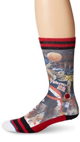 (Stance Men's Clyde Drexler Portland Trailblazers Crew Socks, Black, Sock Size:10-13/Shoe Size: 6-12)
