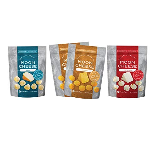 Moon Cheese 2 OZ, Pack of Four, Assortment (Cheddar, Gouda, Pepperjack, Mozzarella), 100% Cheese and Gluten Free