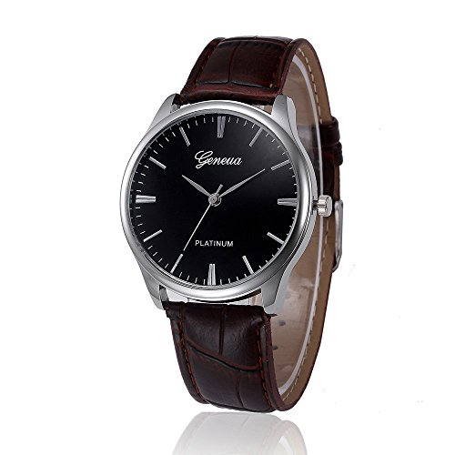 AKwell Women Watch Retro Design Leather Band Analog Alloy Quartz Unisex Wrist Watch