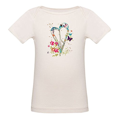 - Royal Lion Organic Baby T-Shirt Flowered Butterfly Heart Peace Symbol - 18 to 24 Months