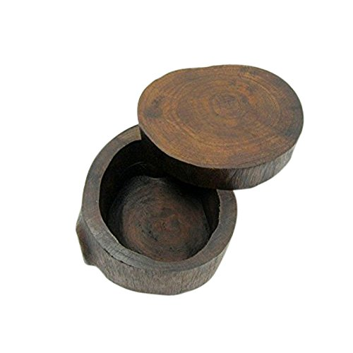 ONE2T Wooden Round Box - Handmade Antique Wedding Ring Case, Portable Small Jewelry (Antique Wedding Ring)