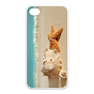 AZA RUBBER SILICONE Case for iPhone 4,iPhone 4S, Starfish At The Beach Protective RUBBER iPhone Case-Black/White