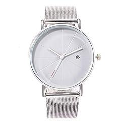 Tigivemen Ladies Watch Einfache Mode Creative Ladies Watch Kreatives Muster Quartz UhrArt und Weise Analogue Steel Quartz Clock Girl Wristwatches (weißes)
