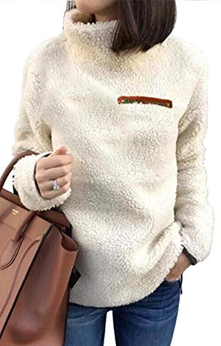 (onlypuff White Sherpa Fuzzy Sweaters for Women Casual Tunic Tops Long Sleeve Solid Color Warm Tops S)