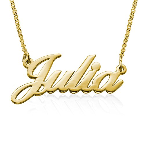 (Customized Name Necklace in 18K Gold Plated Sterling Silver - Personalized Gift for)