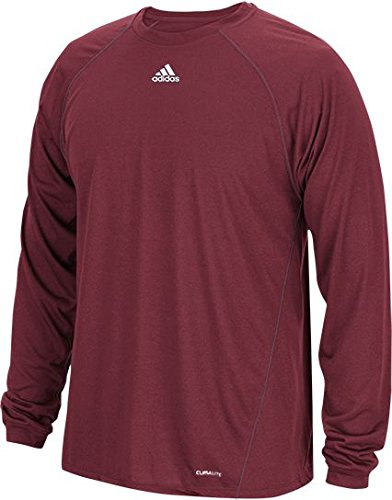 - adidas Men's Climalite Heathered Long Sleeve Performance Shi, Burgundy, 2XL