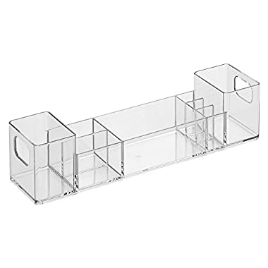 InterDesign Clarity 12  Bathroom Vanity Countertop Multi Level Organizer for Cosmetics, Makeup, Vitamins, Medicine - Clear