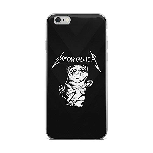 iPhone 6 Plus/6s Plus Pure Clear Case Cases Cover Meowtallica - Rock Fan Cat Lover Design TPU Durable Flexible Protective Cover -