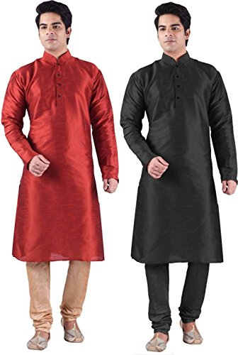 Ruchi Mart Indian Traditional Men Diwali Wear Cultural Kurta Pajama Silk Blend Set Of 2 by Ruchi Mart