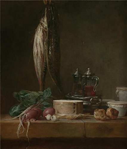 Oil Painting 'Still Life With Fish, Vegetables, Gougeres, Pots , Cruets On A Tab, 1769 By Jean-Simeon Chardin' 20 x 23 inch / 51 x 60 cm , on High Definition HD canvas prints, Garage, Kids Roo decor