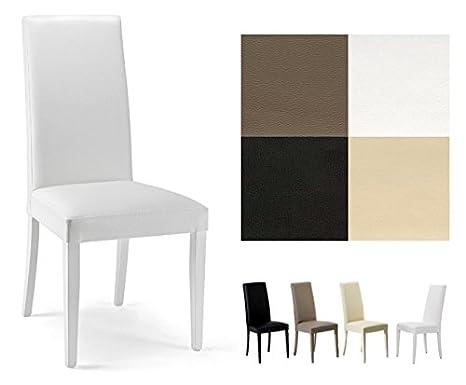 ZStyle Sedia Nancy in Ecopelle Similpelle e Legno Cucina Sala da Pranzo  Design Moderna (Bianco)