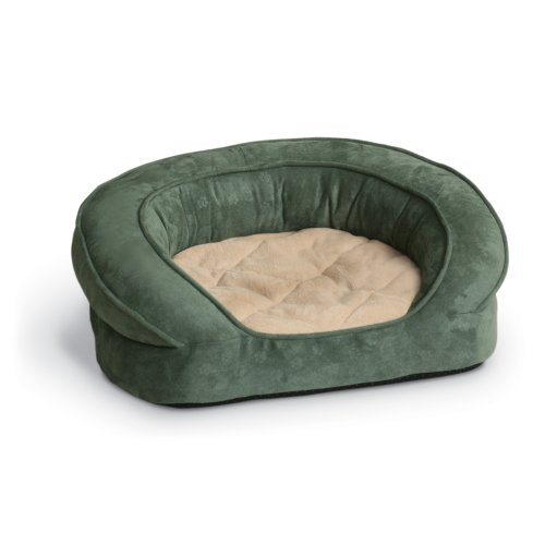 (K&H Pet Products Deluxe Ortho Bolster Sleeper Pet Bed Large Green Paw Print 40