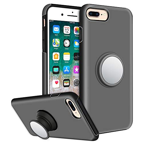 iPhone 8 Plus Case, iPhone 7 Plus Case, Hython Grip Holder Stand Case, Clear Mirror, Slim Smooth Anti-Slip Shockproof Dual Layer Hybrid Protective Bumper Cover for iPhone 7 Plus and 8 Plus, Gray