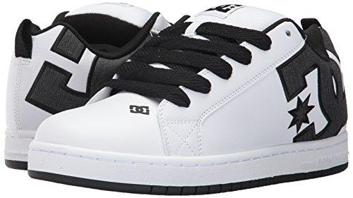 DC Men's Court Graffik SE Skate Shoe,White/Charcoal,9 D US