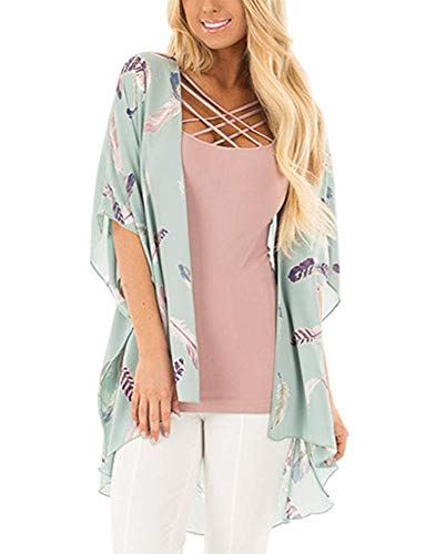 Feather Print Top - Women's Floral Print Puff Sleeve Kimono Cardigan Loose Cover Up Casual Blouse Tops (Blue Feather,M)