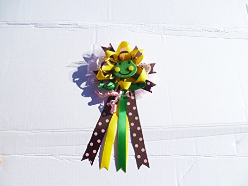 Dot Corsage - Frog Themed with Polka Dots Girl Baby Shower Corsage for Mother (Green, Pink Brown and Yellow)