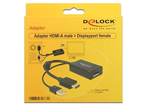 Adaptadores de Cable de v/ídeo USB Negro 0,254 m, HDMI + USB, DisplayPort, Macho, Hembra, Oro DeLOCK 0.245m HDMI+USB2.0-A//DisplayPort 0,254 m HDMI