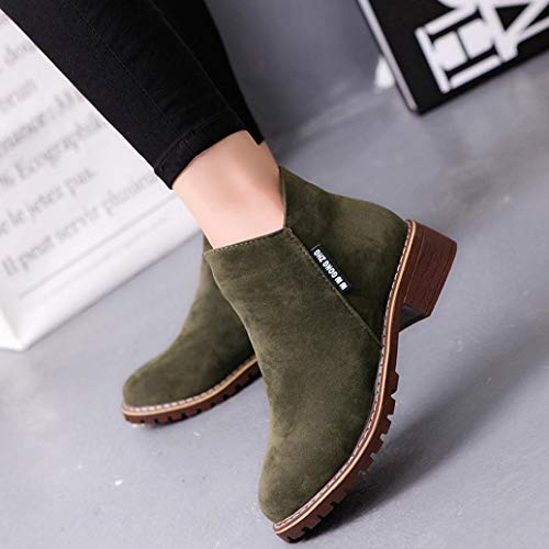 Green Shoes Martin Ankle FALAIDUO Autumn Army Casual Trim Fashion Women Retro Boots Ankle Low Round Leather Toe Winter ZqUTH