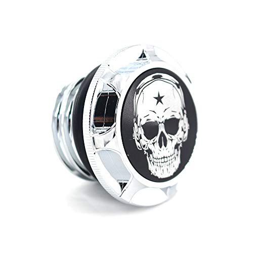 (CNC Aluminum Fuel Gas Tank Oil Cap For Harley Davidson Sportster XL 1200 883 X48 Dyna - Skull (Chrome))
