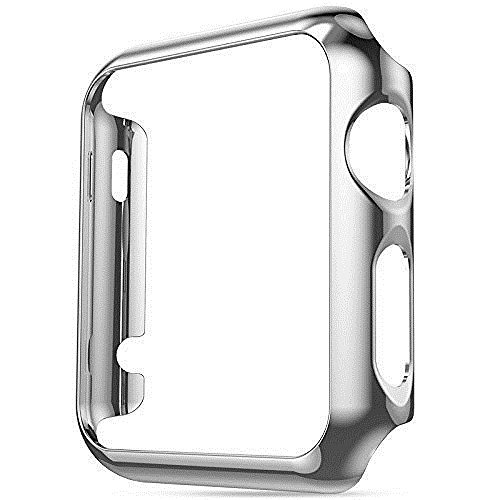 Snap Watch Series (Apple iWatch 38mm Chrome Plated + Screen Protector Built in Bumper Slim [Watch Hard Cover] Skin Protective Case Shockproof Ultra Thin Rugged Flexible Series 1, 2 & 3 Accessories (Silver))