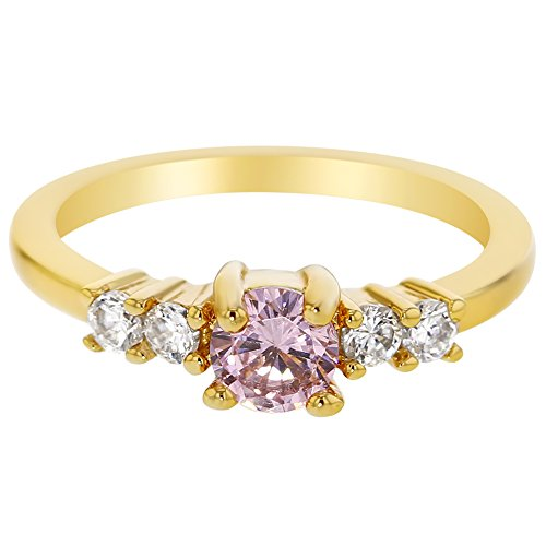 18k Gold Plated Small Pink Clear Crystal Rings for Girls (Class Rings For Girls)
