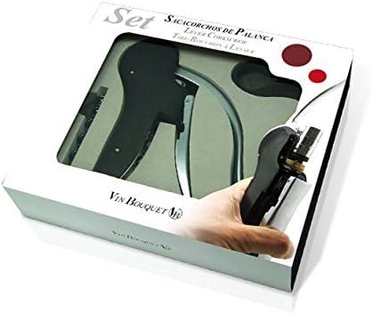 Vinbouquet sacacorchos FI 004 Set Descorchador de Palanca con descanpsulador y Broca de Recambio, Acero Inoxidable, 22x5x19 cm
