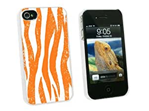 Graphics and More Zebra Distressed Orange - Snap On Hard Protective Case for Apple iPhone 4 4S - White - Carrying Case - Non-Retail Packaging - White