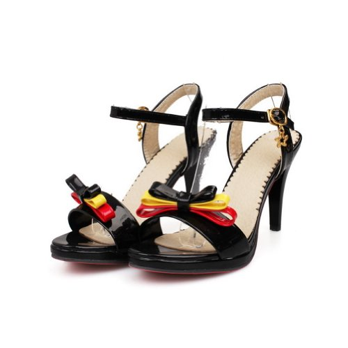 VogueZone009 Womens Open Toe High Heel PU Patent Leather Assorted Colors Sandals with Bowknot and Buckle Black qlB1vONb