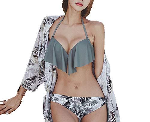 Surprisedresshatglasses Bikini Swimsuit Sense Ruffled Size Chest Gathered Chiffon Long-Sleeved Blouse Swimsuit,Gray Three-Piece,XL by Surprisedresshatglasses