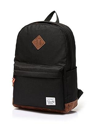 Vaschy Unisex Classic Water Resistant School Rucksack Travel Backpack 14Inch Laptop