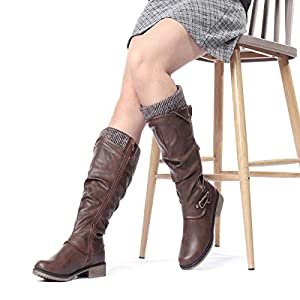 gracosy Knee High Boots Women's Leather Ankle Riding Boots Ladies Low Flat Heel Round Toe Long Boots Fur Lined Winter Warm Snow Boots Comfortable Casual Footwear with Zip Buckle Shoe Size Black Grey