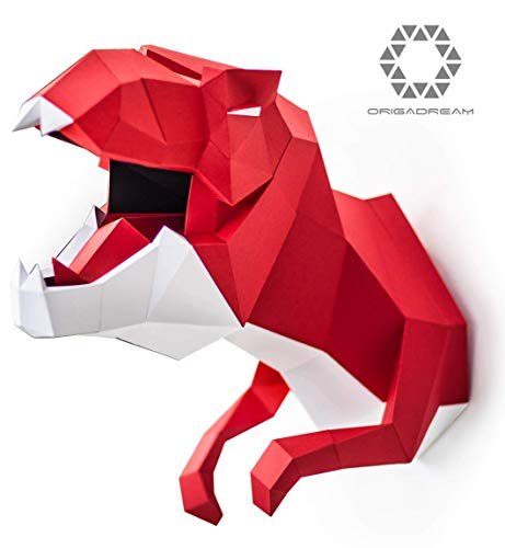 DIY T-Rex Paper Craft Sculpture Assembly Precut KIT 3D Dinosaur MODERN PUZZLE for walldecor, Trex Papercraft low poly decoration, ORIGADREAM]()