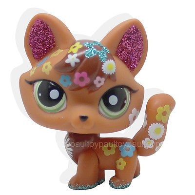 [LHJ #2341 Littlest Pet Shop LPS Brown Red Sparkle Fox Green Eyes Dog Toy] (Llama Costume Ebay)