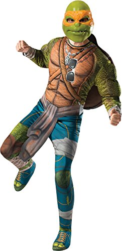 [Rubie's Costume Men's Teenage Mutant Ninja Turtles Movie Deluxe Adult Muscle Chest Michelangelo, Multicolor, X-Large] (Turtle Shell Design Costume)