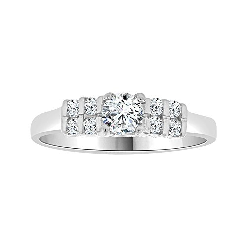 14k White Gold, Lady Engagement Promise Ring Round Created CZ Crystals 5mm 0.50ct Size 8 by GiveMeGold